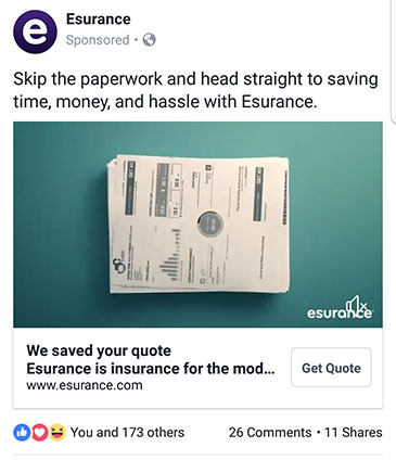 facebook ad strategies esurance facebook ad example