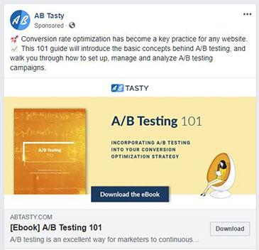 facebook ad strategies ab tasty facebook ad example