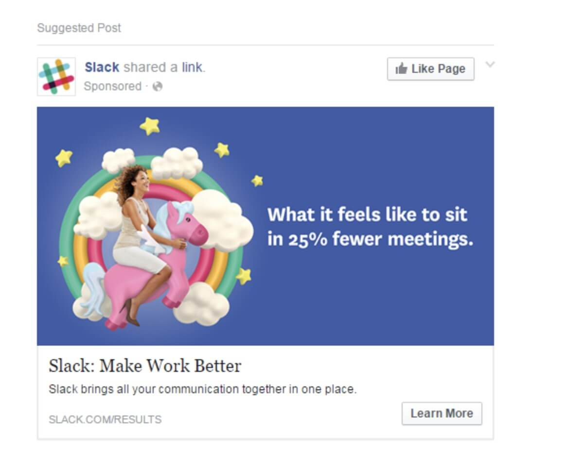 facebook ad strategies slack facebook ad example