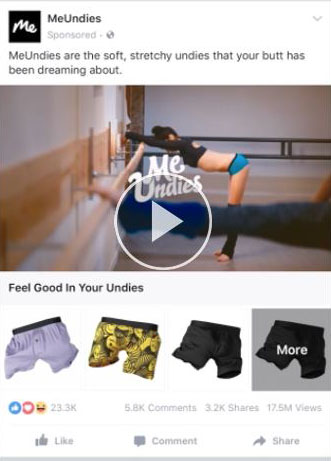 facebook ad strategies meundies facebook ad example