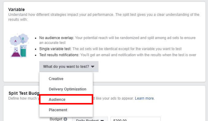 facebook ad strategies audience testing