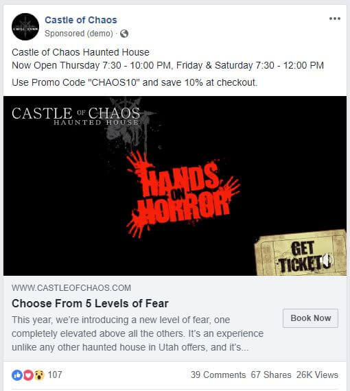 facebook ad strategies castle of chaos facebook ad example