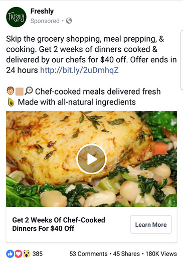 facebook ad strategies freshly facebook ad example