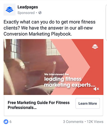 facebook ad strategies leadpages facebook ad example