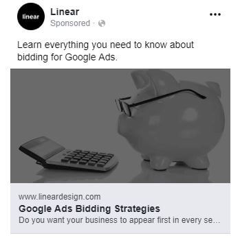 facebook ad strategies linear facebook ad example