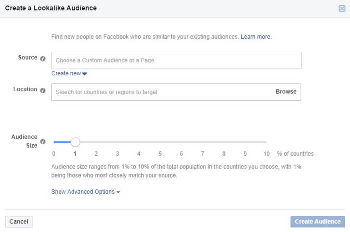 New Lookalike Audience in Facebook Ads Manager