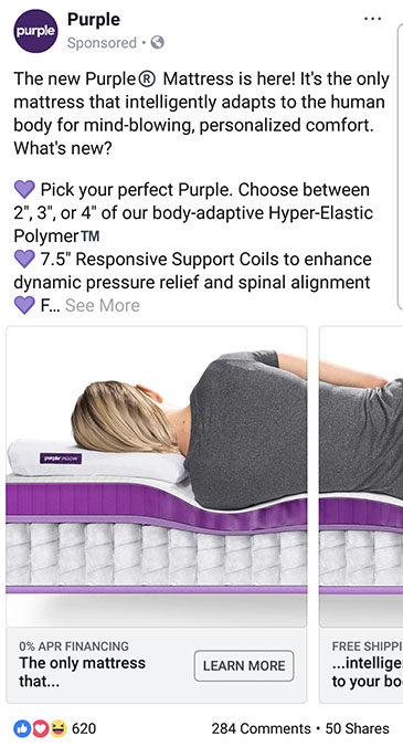 facebook ad strategies purple facebook carousel ad example