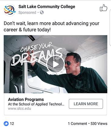 facebook ad strategies slcc facebook ad example