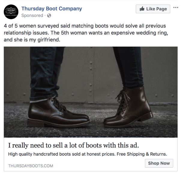 4 boot retargeting ad
