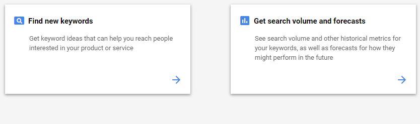 9 google keyword planner options