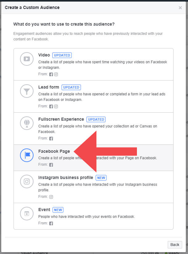 Custom Audience Facebook Page Engagement