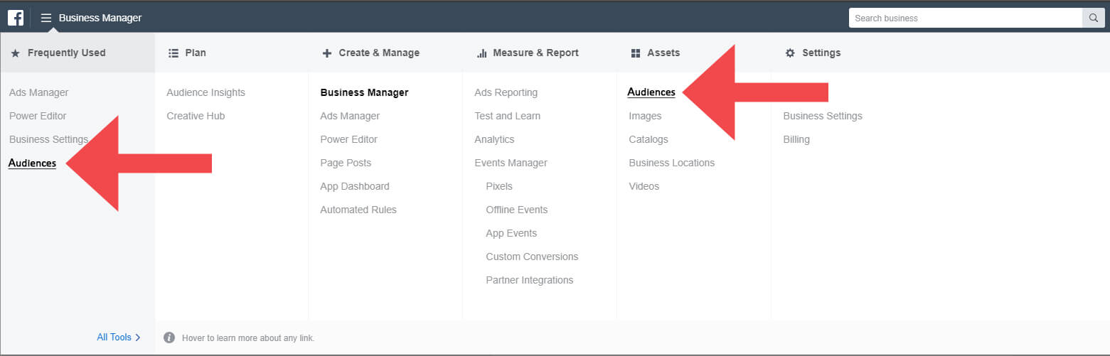 Facebook Audiences Business Manager