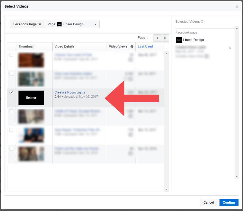 Video Engagement Custom Audience Select Video