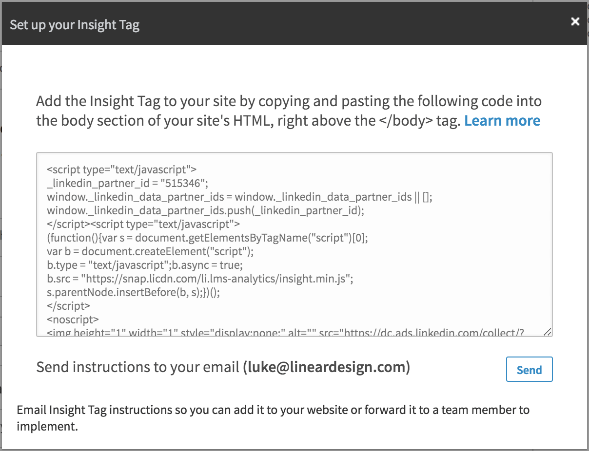 linked in ads set up insight tag