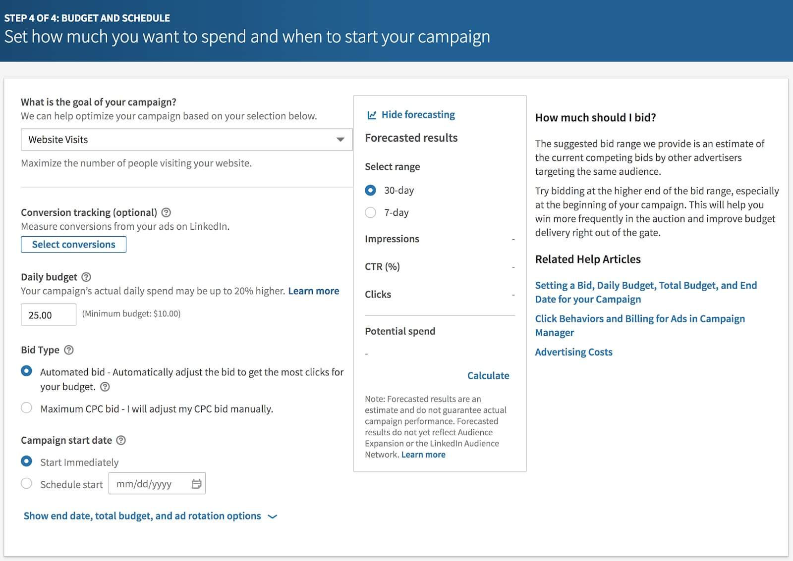 linkedin ads budget and schedule