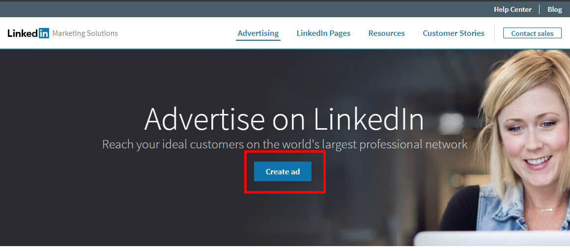 linkedin ads create ad button