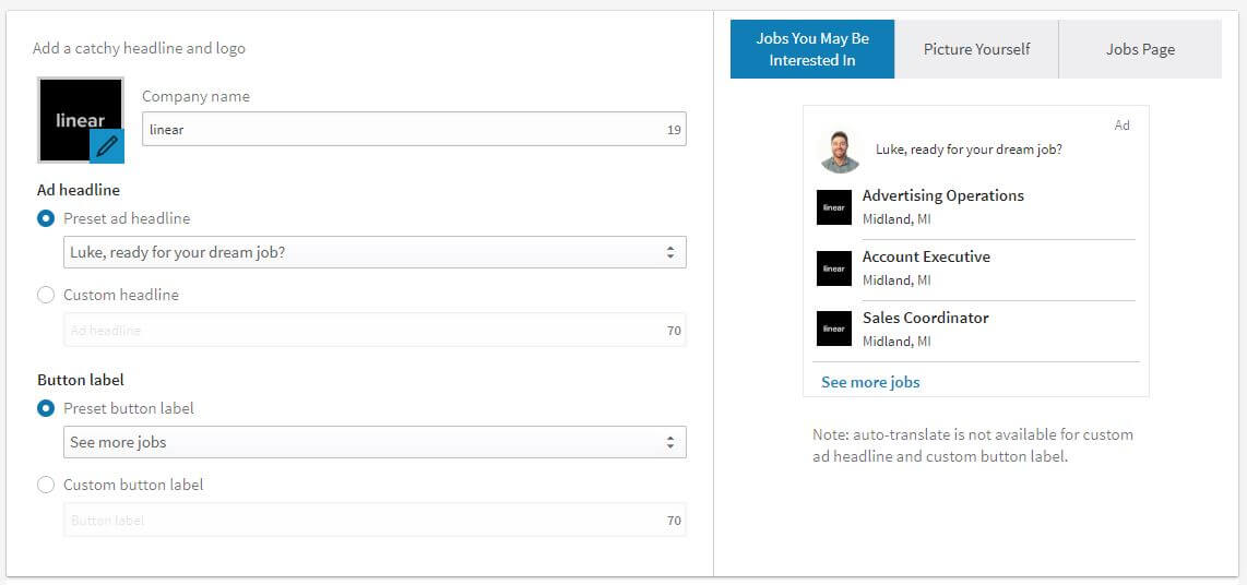 linkedin ads job ad