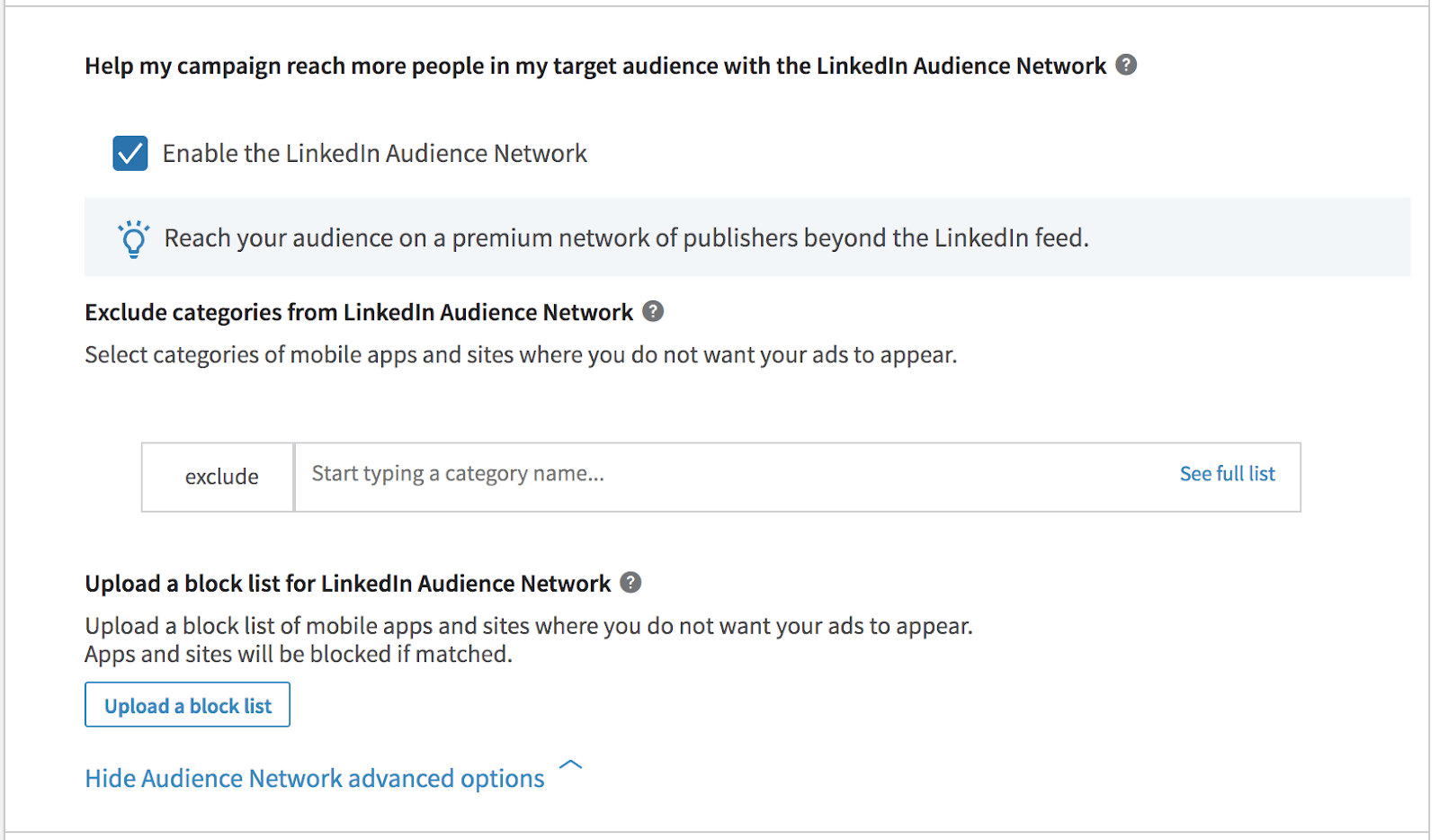 linkedin ads linkedin audience network
