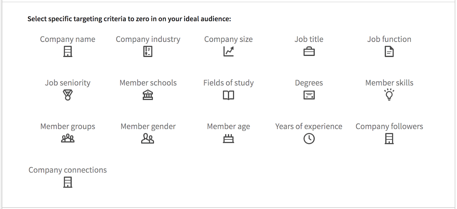 linkedin ads specific criteria