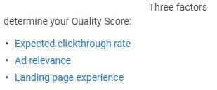 Google Quality Score Factors
