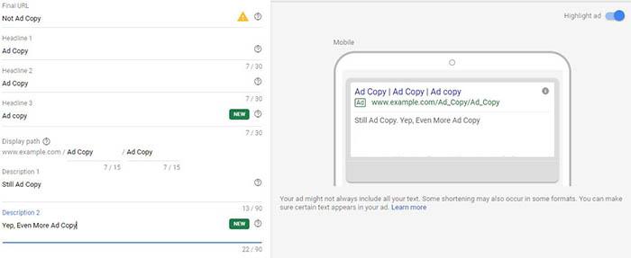 PPC Glossary Google Ad Copy