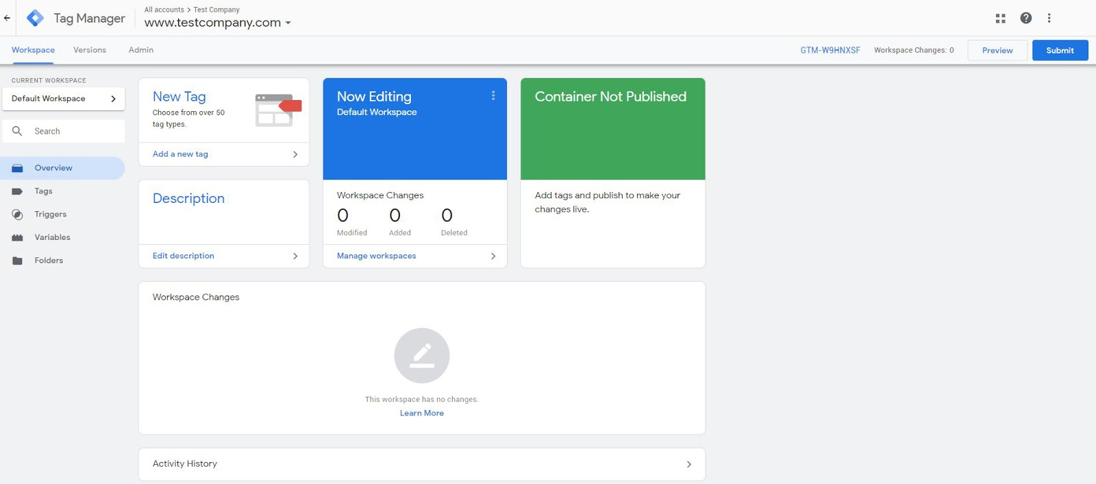 Google Tag Manager Container Overview