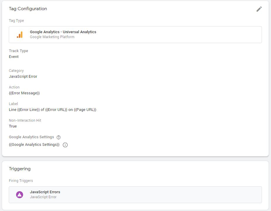 JS Error Tag in Google Tag Manager