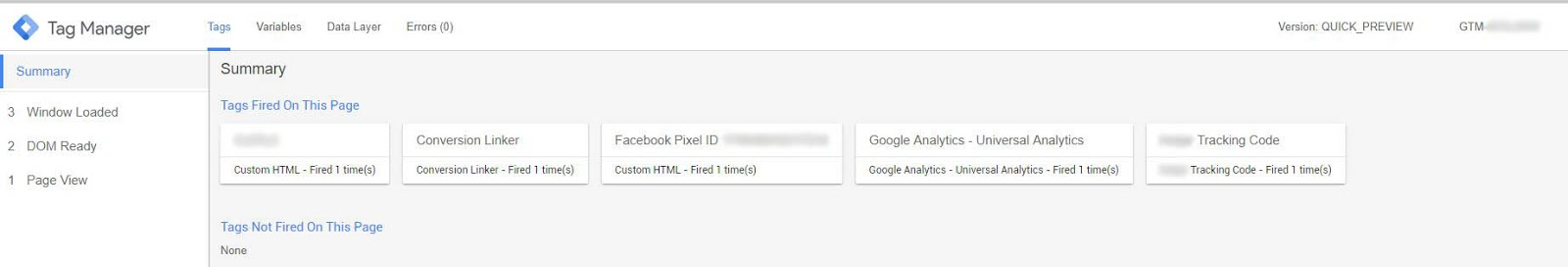 Preview of Google Tag Manager Website