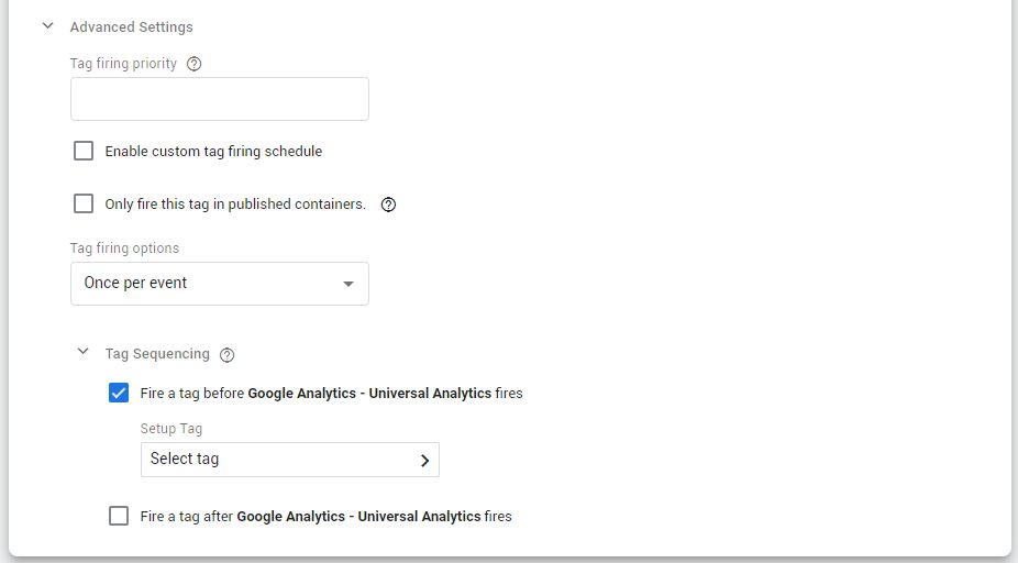 Tag Sequencing Google Tag Manager