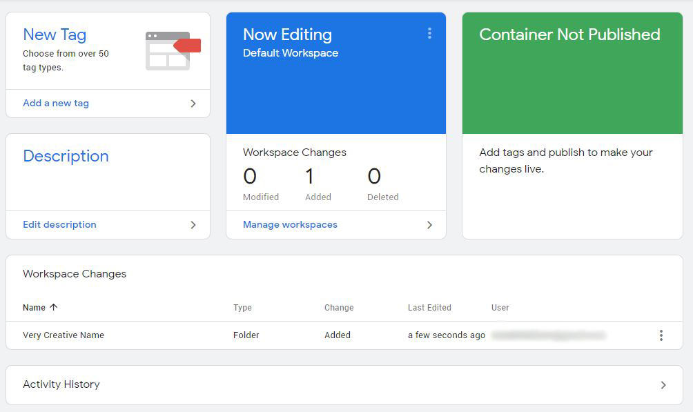 Workspace Changes in Google Tag Manager