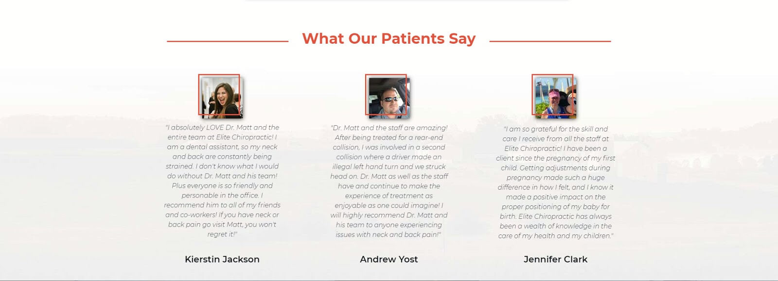 landing page layout testimonials section