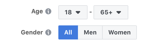 Age and gender facebook ad targeting