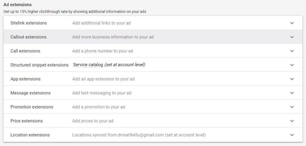 Google Ad Campaign Settings Ad Extensions
