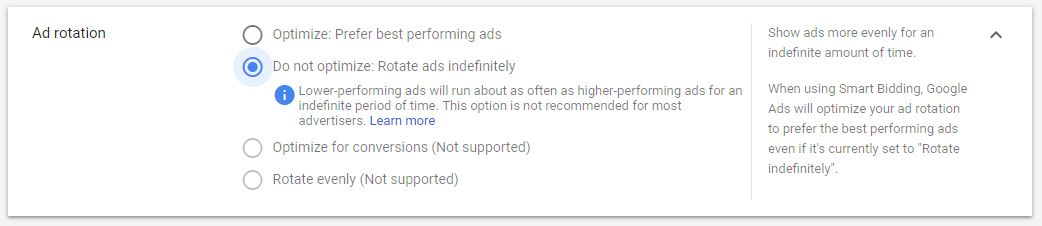 Google Ad Campaign Settings Ad Rotation