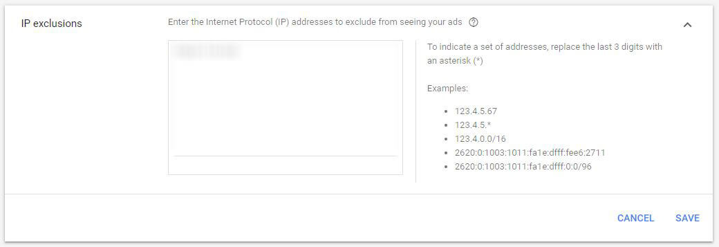 Google Ad Campaign Settings IP Exclusions