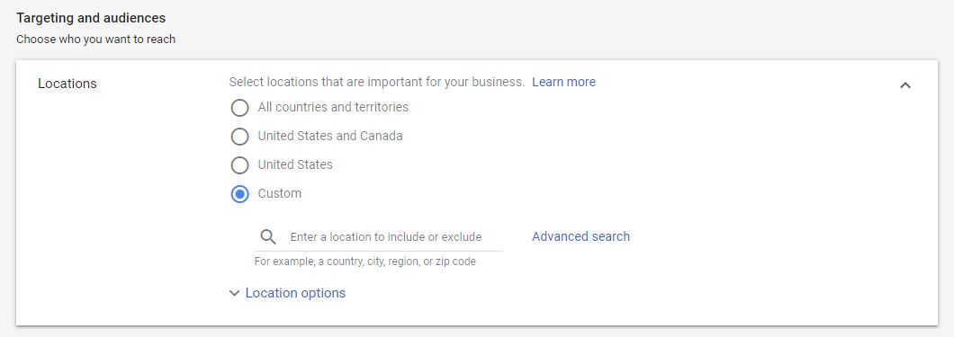 Google Ad Campaign Settings Locations