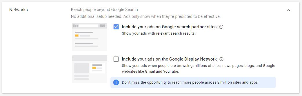 Google Ad Campaign Settings Networks