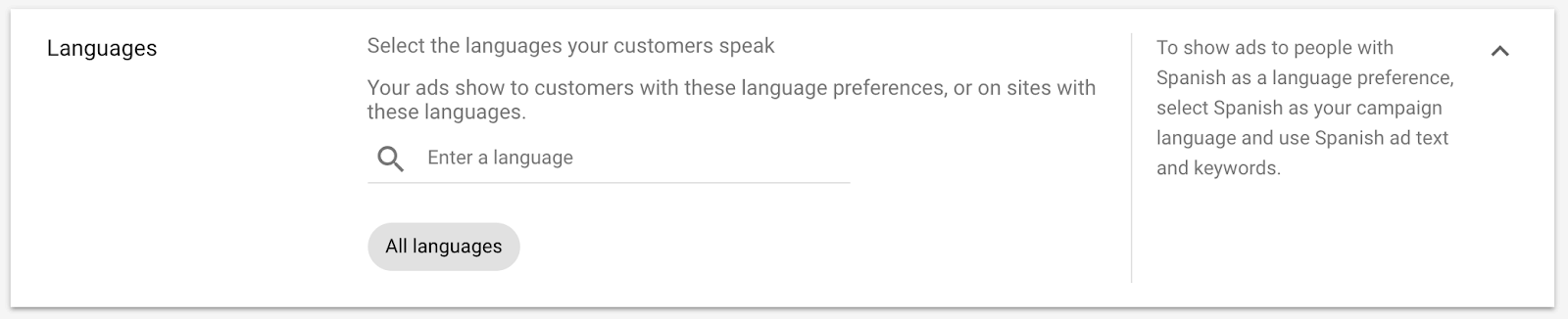 google ads campaign language settings