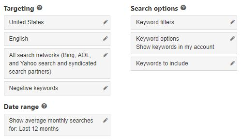 Keyword Planner Keyword Options