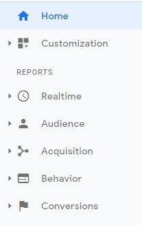 Side Bar of Google Analytics