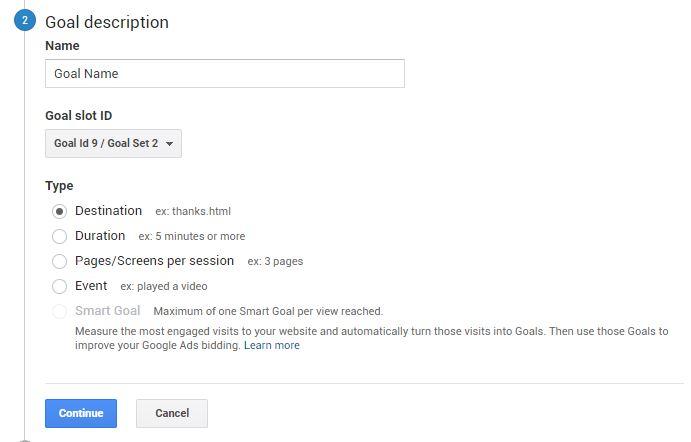 setting up google analytics goals 2