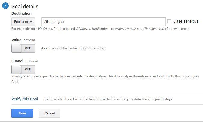 setting up google analytics goals 3
