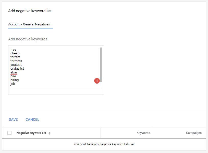 Google Ads Guide Negative Keywords Lists