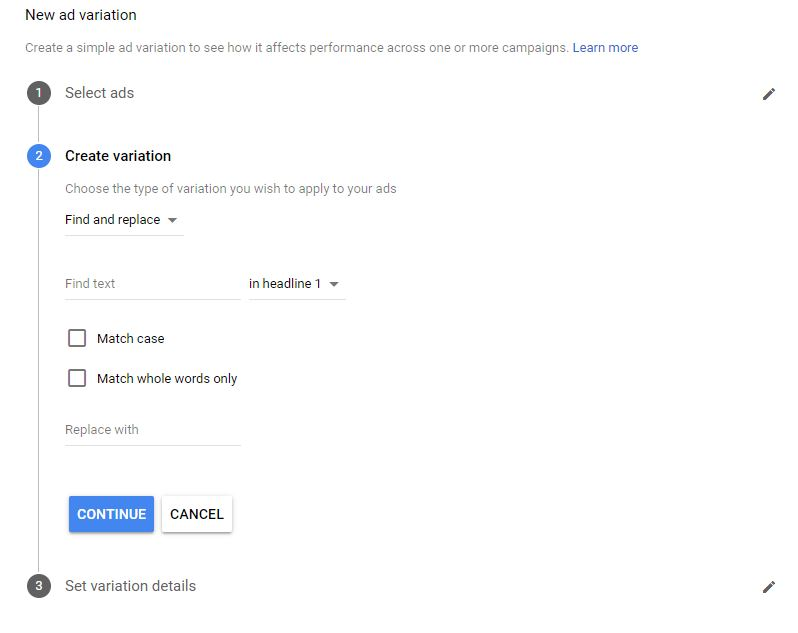 Google Ads Guide New Ad Variation Step 2