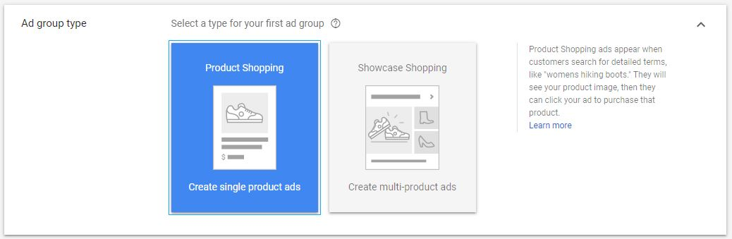 Google Shopping Ad Group Types