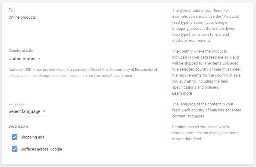 Google Shopping Ads Merchant Center Product Feed Step 1