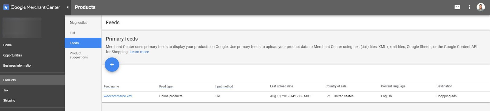 Google Shopping Ads Merchant Center Product Feed