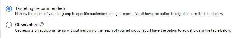 Targeting or Observation for Display Ads Google Ads Guide