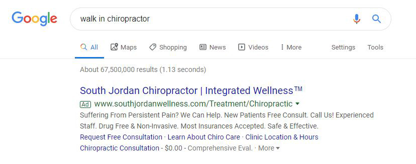 chiropractic marketing bad search results