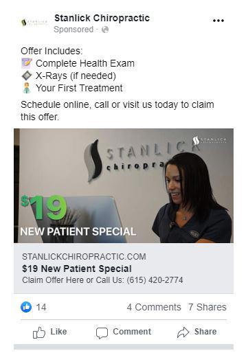 chiropractic marketing facebook ad